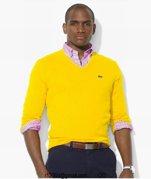 Assez pull lacoste jaune,pull col v homme pas cher,pull lacoste homme  SF59